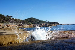 Blowhole at Bicheno beach, Tasmania, Australia