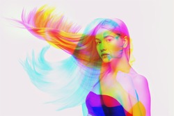 Blowing. Multiple portrait with glitch duotone effect. Multiple exposure, abstract fashionable beauty photo. Young beautiful female model posing. Youth culture, composite image, fashionable people.