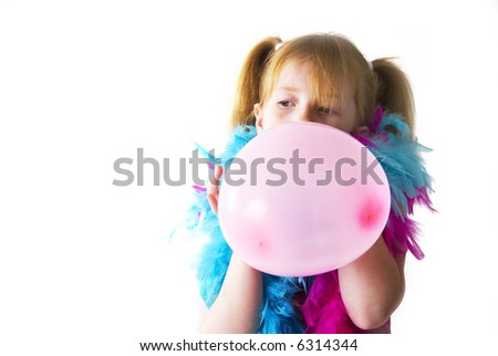 Blowing the pink balloon for the birthday party #6314344