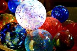Blown glass orbs ball balls ornaments handmade glass work colorful glass art artwork