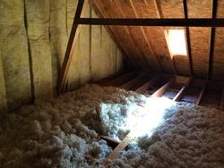 Blown Insulation Attic Floor Home Construction Corner View