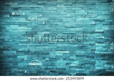 Blu bricks marble wall #253493899