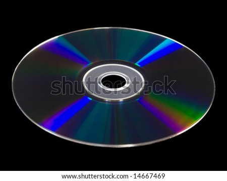 Blu-Ray BD-R disc isolated against black background, with blue tones of light refraction across empty disc surface