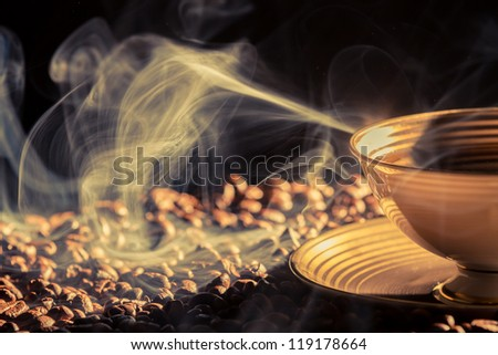 Blu smoke and roasted coffee