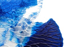 blue abstract acrylic painting color texture on white paper background by using rorschach inkblot method