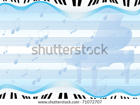 Blue abstract background with a grand piano and musical signs