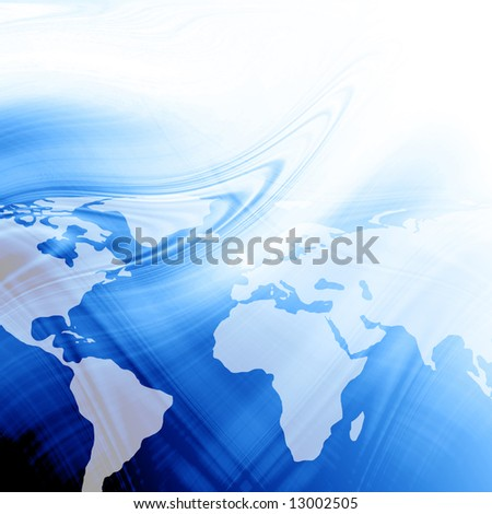 Blue abstract background with an integrated world map