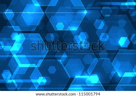 Blue abstract background with binary code. Web technology concept.