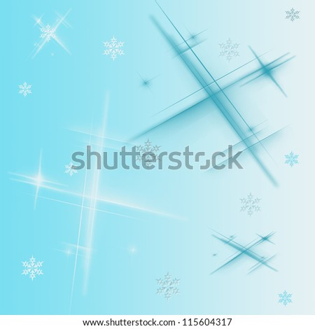 Blue abstract background with different snowflakes
