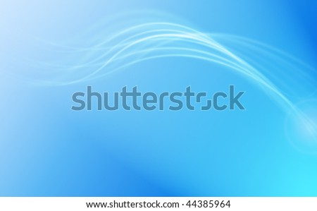 Blue abstract background with white flowing lines