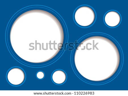 Blue abstract background with white hole and drop shadow