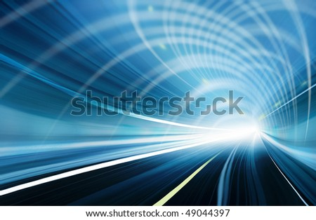 Blue Abstract blurred speed motion in urban highway road tunnel, moving toward the light. Computer generated illustration