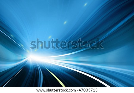 Blue Abstract blurred speed motion in urban highway tunnel, moving toward the light. Computer generated technology abstract illustration.