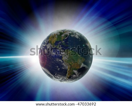 blue abstract computer generated illustration of Solar eclipse with Planet Earth as seen from the outer space