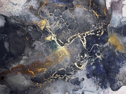 Blue Abstract. Delicate Emerald. Alcohol Ink Splatter Star. Motley Ocean color Smudges. Navy blue spatter. Gold Marble Gouache drawn. Black Dirty. Ink Wash Pastel.