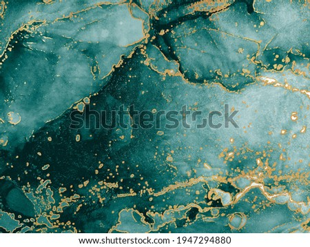Blue Abstract. Emerald. Water Splash. Aquamarine Watercolor. Frosty Background Puddle. Indigo, Tidewater Green Gold Drops. Alcohol Ink Spots. Alcohol Illustration.