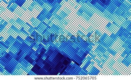 Blue abstract geometric fractal pattern. Horizontal orientation.