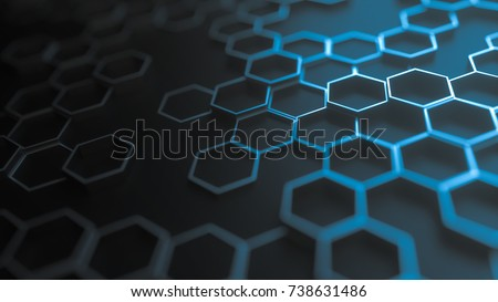 Blue abstract hexagonal geometric background. Structure of a many number of shining metal hexagons on black plane. 3d rendering
