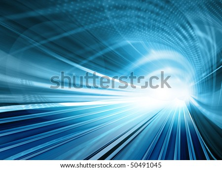 Blue Abstract illustration of a speed blurred motion in an urban road or highway tunnel. Technology backgrounds.