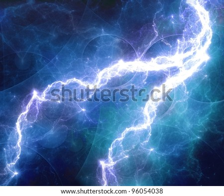 Blue abstract lightning storm