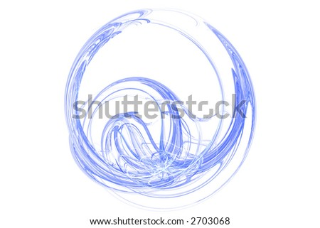 Blue abstract round shape over white