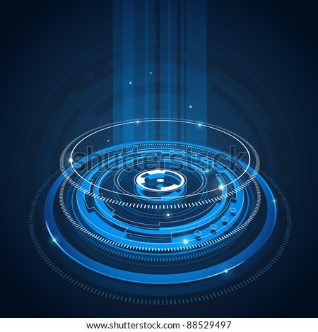Blue abstract tech circles background design with light effect - stock photo