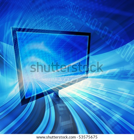 Blue abstract technology conceptual background image, dynamic information highway and high speed data transfer with computer display. Computer generated illustration.