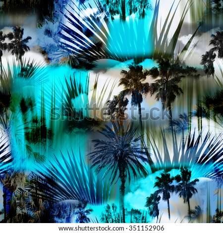 Blue Abstract tropical pattern seamless with palm leaves on a tropical background. Palm trees on a colorful blue backdrop. Photo collage clip-art with slow focus and layers effect.