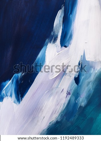 blue abstraction with acrylic paints on canvas