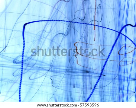 blue abstraction with many horizontal and vertical lines