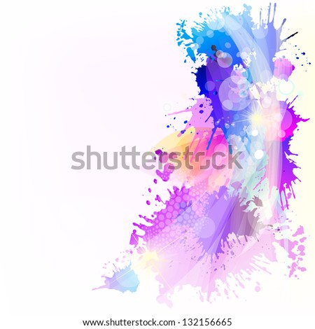 Blue abstraction with spots of paint. Raster