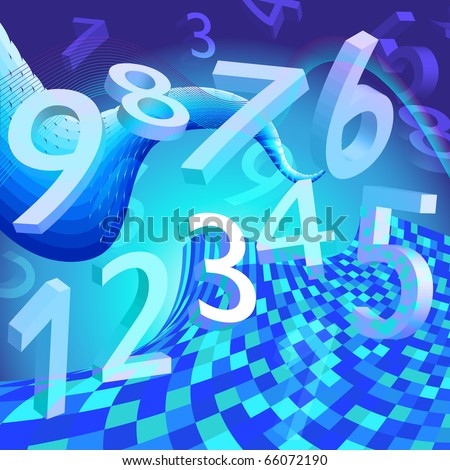 blue abstractly background with numbers