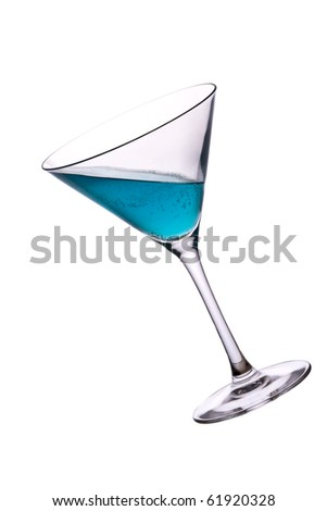 blue alcohol cocktail with green lime isolated on white