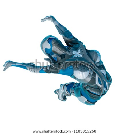 Stock Photo blue alien female on white background. This blue alien will put some action at yours creations, 3d illustration