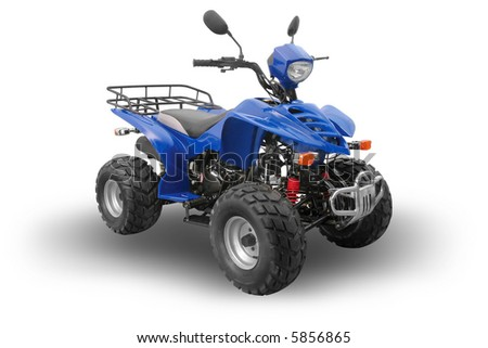 Blue All Terrain Vehicle isolated on white background