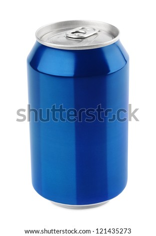 Blue aluminum can 330 ml isolated on white with clipping path