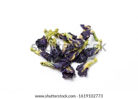Blue Anchan tea, dried tea flowers(Flowers of the clitoris triplicate) on a white background.