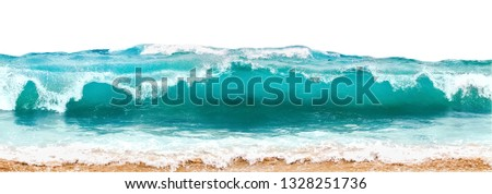 Blue and aquamarine color sea waves and yellow sand  with white foam isolated on white background. Marine beach background. #1328251736