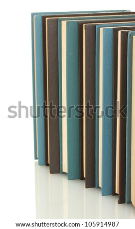 blue and black books on white background close-up