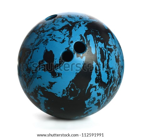 Blue and black bowling ball isolated over white background - With Clipping Path