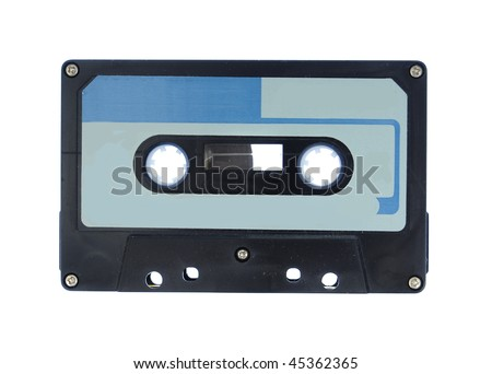 Blue and Black cassette audio tape isolated on a white background