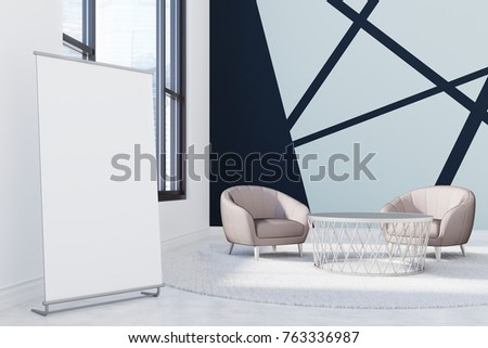 Blue and black office waiting area with a round coffee table, two gray armchairs, large windows and a vertical banner in the corner. 3d rendering mock up