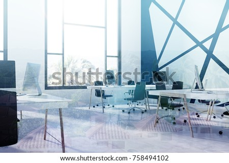 Blue and black open space office interior with a concrete floor, white and wooden tables, black chairs and computers with blank screens. Side view. 3d rendering mock up double exposure toned image