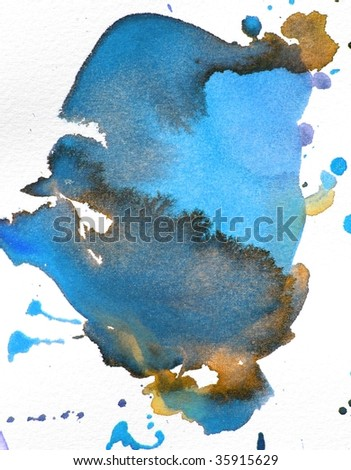 blue and brown abstract paint background splash