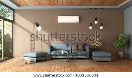 Blue and brown living room with air conditioner , sofa and footstool - 3d rendering