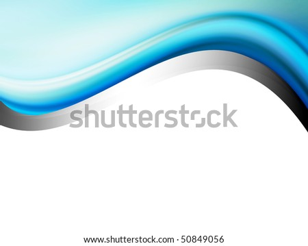 Blue and chrome dynamic waves over white background. Illustration