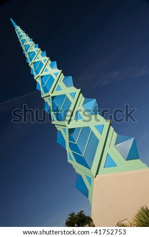 Blue and cyan spire of the Frank Lloyd  Wright Public Memorial in Scottsdale  Arizona.