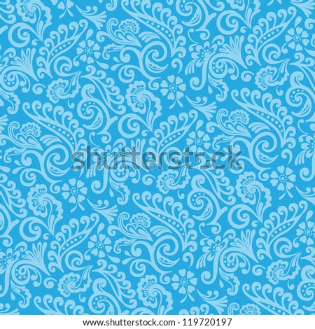 Blue and Cyan Victorian Wallpaper Background