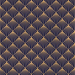 blue and gold art deco vintage pattern.
