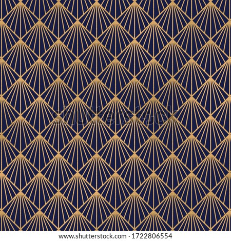 Photo of  blue and gold art deco vintage pattern.